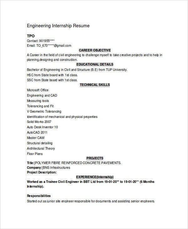 Sample Engineering CV - 7+ Documents in PDF, Word