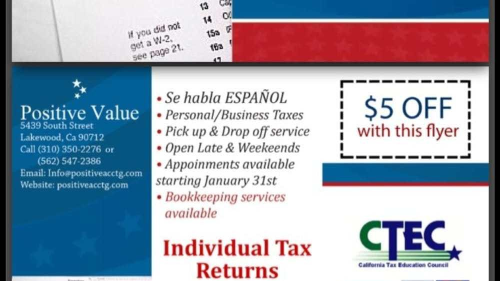 Positive Value Bookkeeping & Tax - 22 Reviews - Tax Services ...