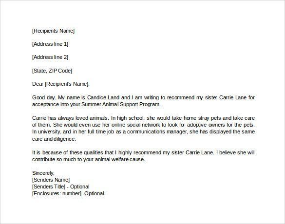 Personal Recommendation Letter. Example Personal Letter Of ...