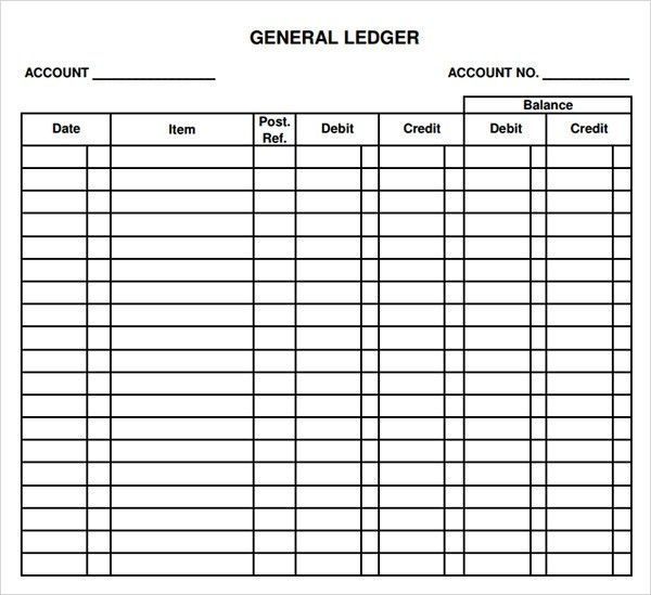 Printable Account Ledger General Ledger Sheet Template Double – Blank Accounting Worksheet
