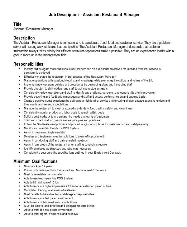 Sample Assistant Manager Job Description   9+ Examples In PDF, Word
