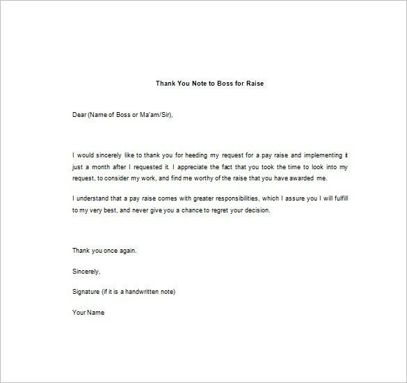 Thank You Note To Boss – 10+ Free Word, Excel, PDF Format Download ...