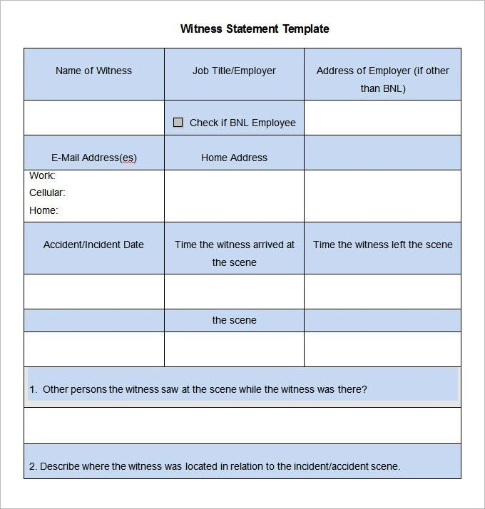 11 Witness Statement Templates - Free Word, PDF Documents Download ...