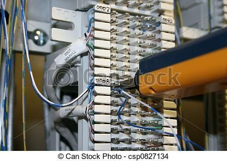Stock Photo of 66 block - A telecom technician punching down a ...