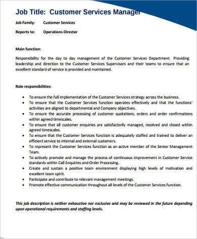 call center manager job description job objective for. client ...