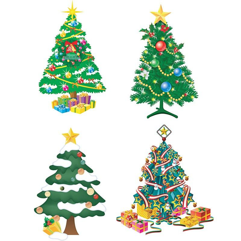 Decorated Christmas tree templates vector | Free Stock Vector Art ...
