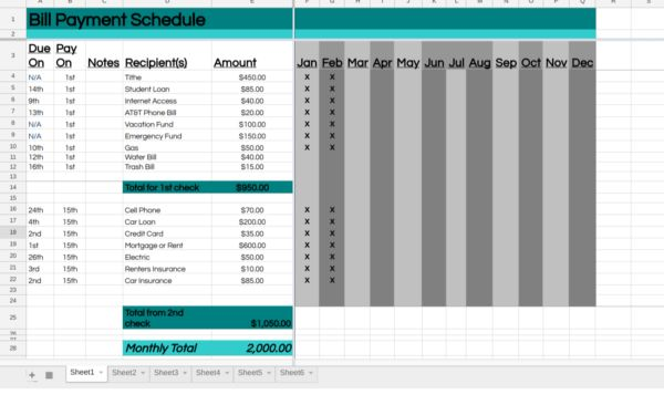 How to manage bills with a bill payment schedule