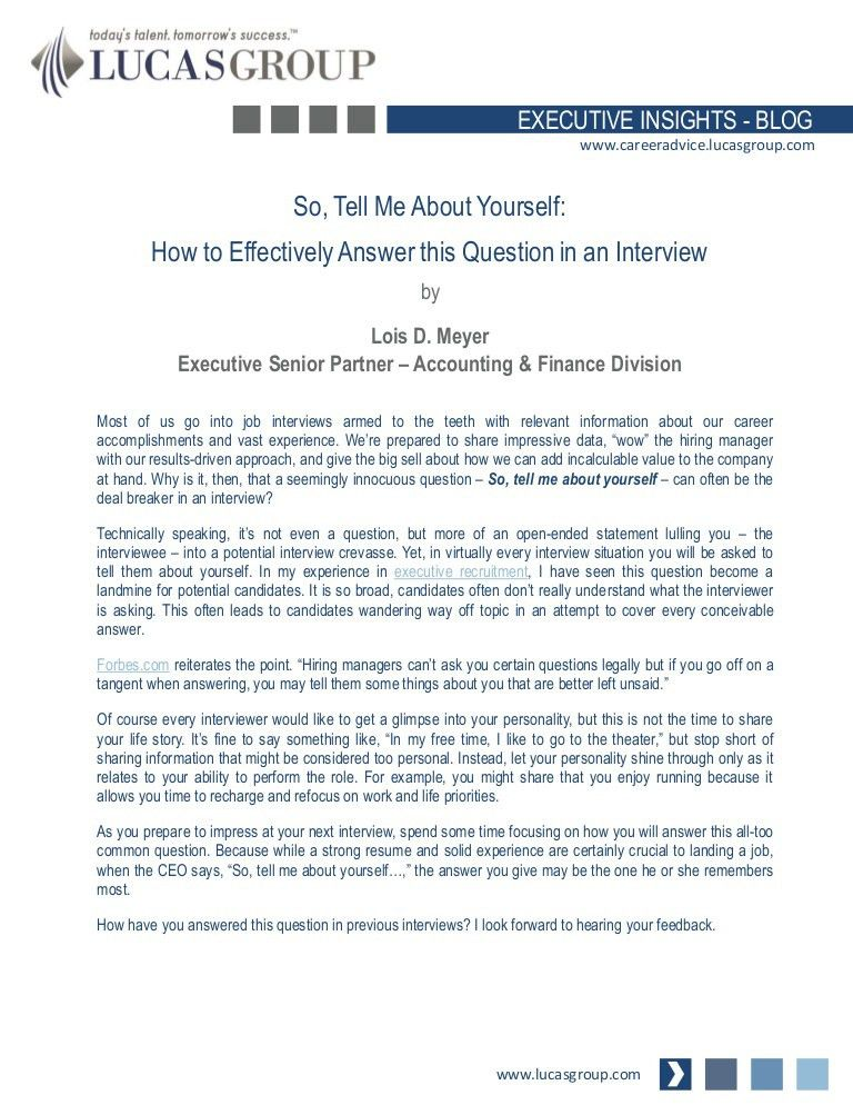 So, Tell Me About Yourself…How to Effectively Answer this Question in…