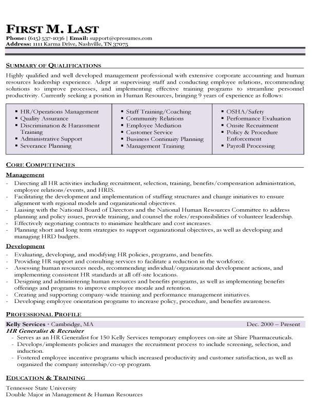 Entry Level Human Resources Resume 1 HR Human Resources Resume ...