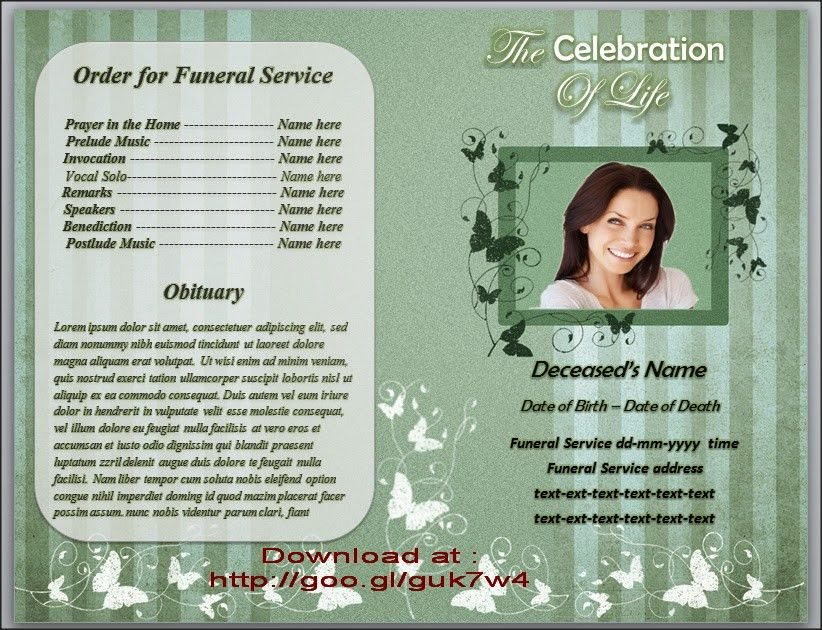 Memorial Service Programs Template Microsoft Office Word in many ...