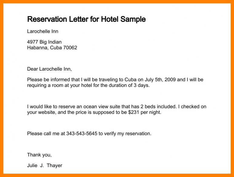 9+ hotel booking letter sample | science-resume
