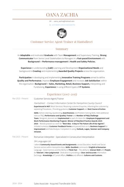 Customer Service Agent Resume samples - VisualCV resume samples ...