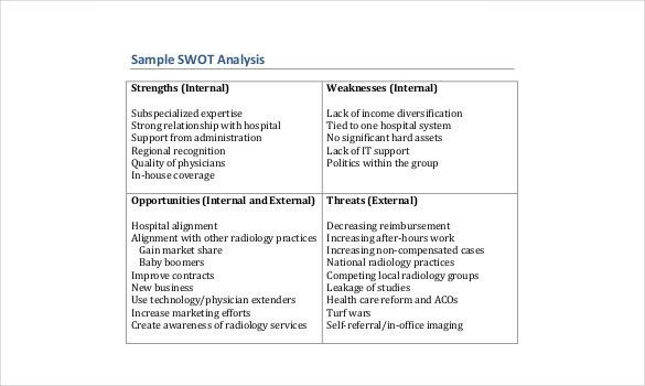 Healthcare SWOT Analysis Template - 8+ Free Word, Excel, PDF ...
