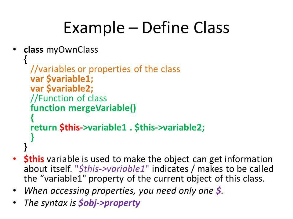 Classes in PHP Web Engineering. What is Class? A class is a ...
