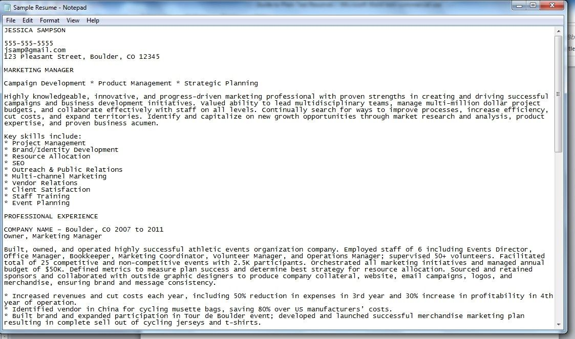 resume plain text cover letter how to create a plain text ascii ...