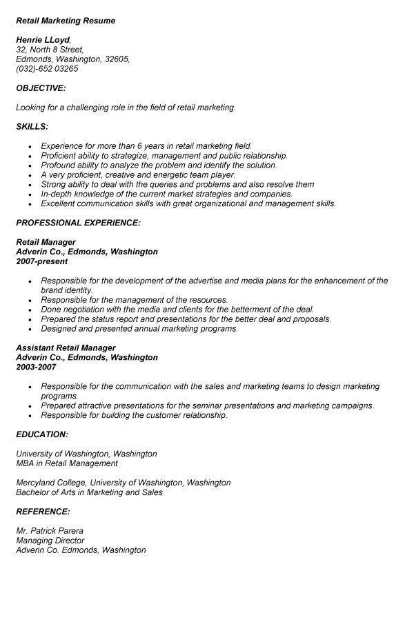 sample retail marketing resume resume programproduct marketing