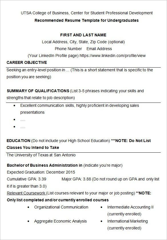 Download College Student Resume Template | haadyaooverbayresort.com