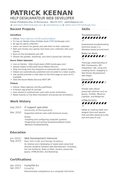 It Support Resume samples - VisualCV resume samples database