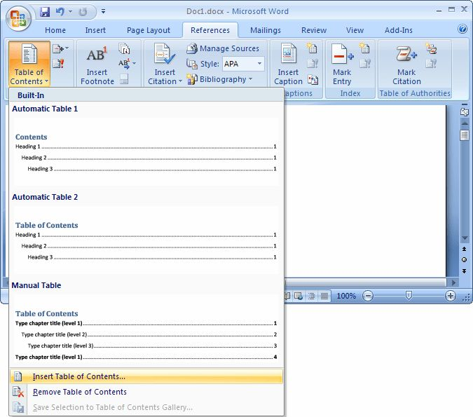 MS Word 2007: Create a table of contents