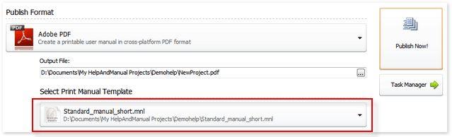 Publishing > PDF and Printed Manuals > Using PDF templates