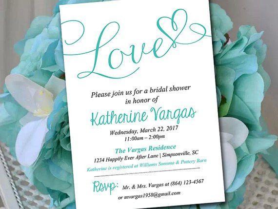 Bridal Shower Invitation Template - Heart Wedding Shower ...