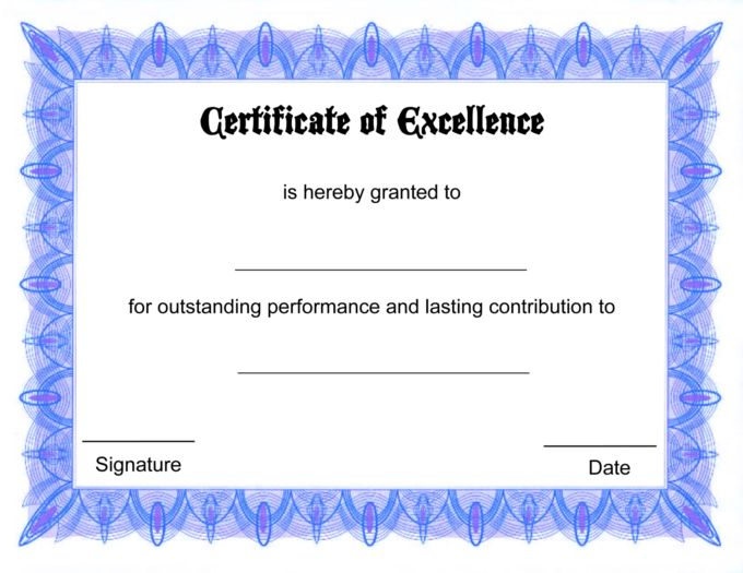 Formal Award Certificate Of Excellence Template With Blue Border ...