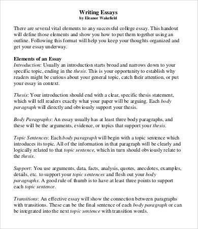 College Essay Template - 7+ Free Word, PDF Documents Download ...