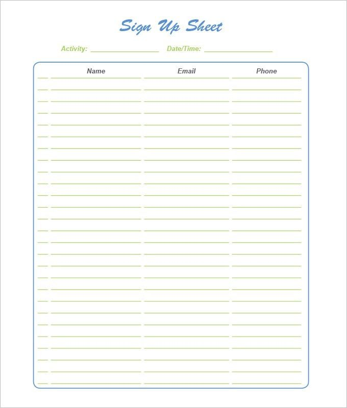 sign up sheets template - Template