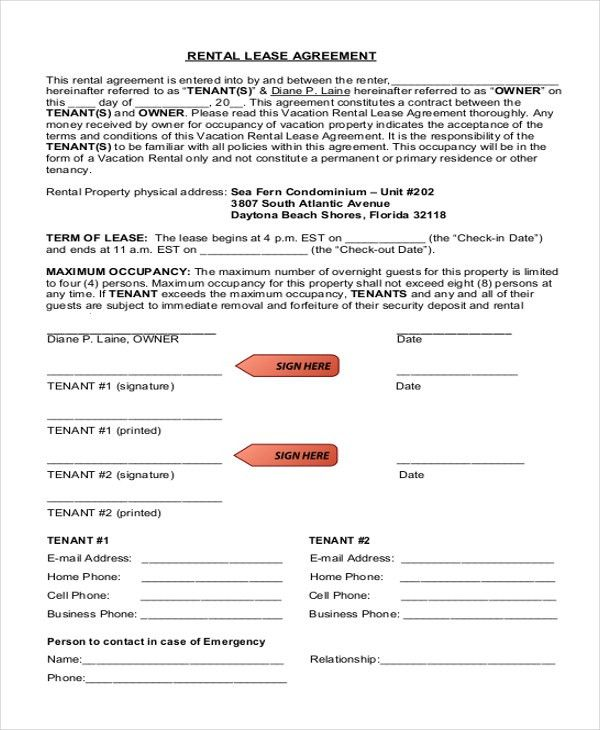 Generic Rental Agreement Sample. Get Residential Lease Forms Free ...