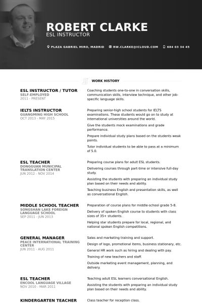 Esl Instructor Resume samples - VisualCV resume samples database