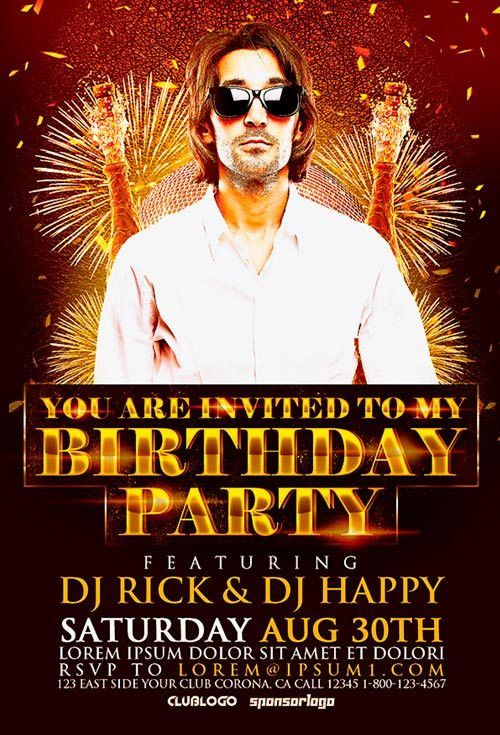 Birthday Party Flyer Template | Awesomeflyer.com