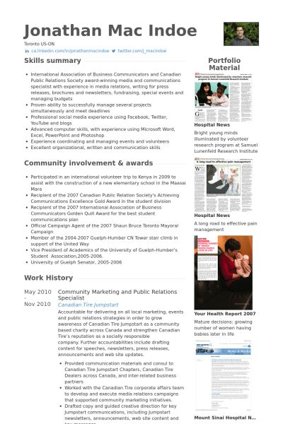 Public Relations Specialist Resume samples - VisualCV resume ...
