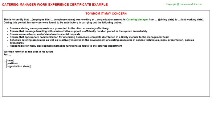 Catering Manager Work Experience Certificate