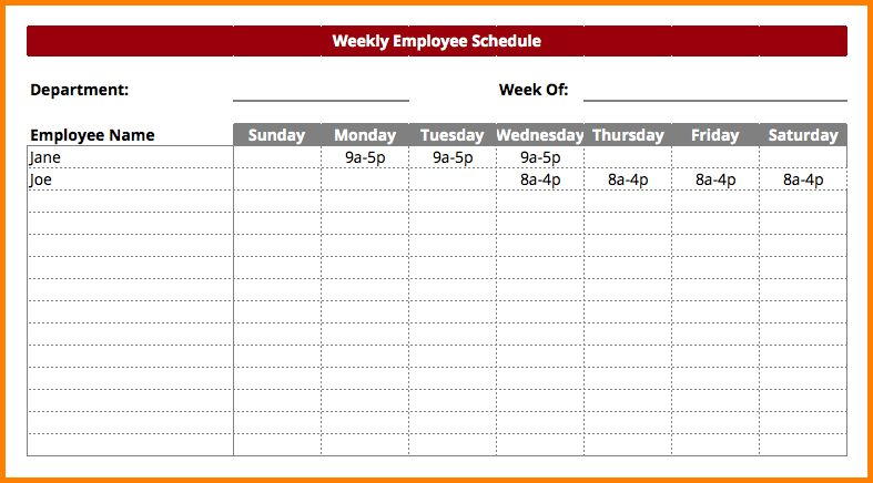 9+ employee work schedule template | nypd resume
