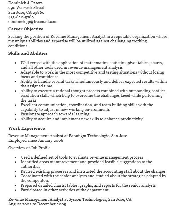 16 Free Sample Revenue Management Analyst Resumes – Sample Resumes ...
