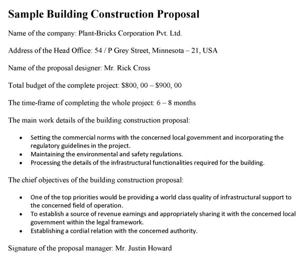 Building Construction Proposal Sample
