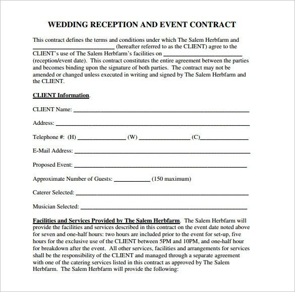 Wedding Catering Contract Sample 6 Templates