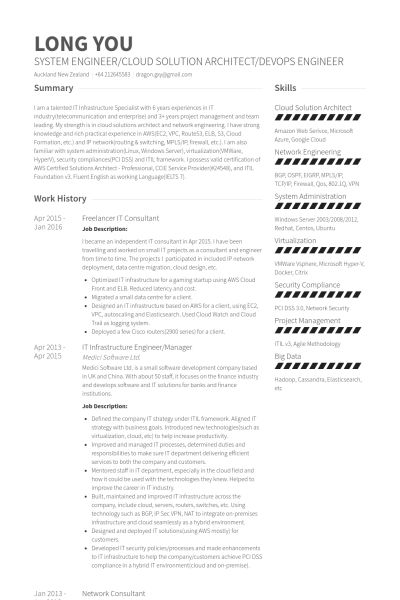 Network Engineer Resume samples - VisualCV resume samples database
