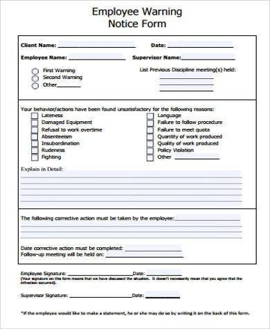 Employee Notice Form. Written Warning Template For Performance ...