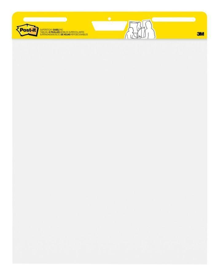 Post it Self Stick Easel Pad 25 x 30 Plain White Paper 30 Sheets ...