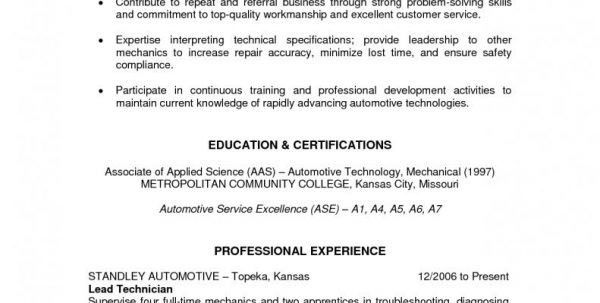 auto mechanic resumes