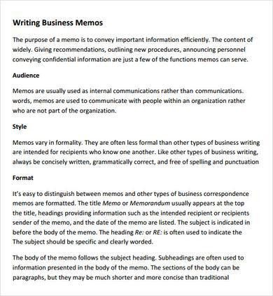 Sample Company Memo Template 6 Free Documents Download In PDF Word ...