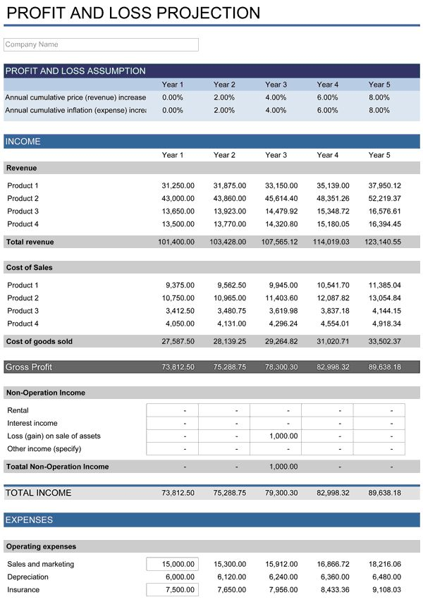 5-Year Financial Plan   Free Template for Excel