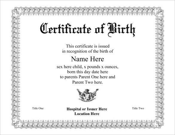 Birth Certificate Template For Microsoft Word | Template Design