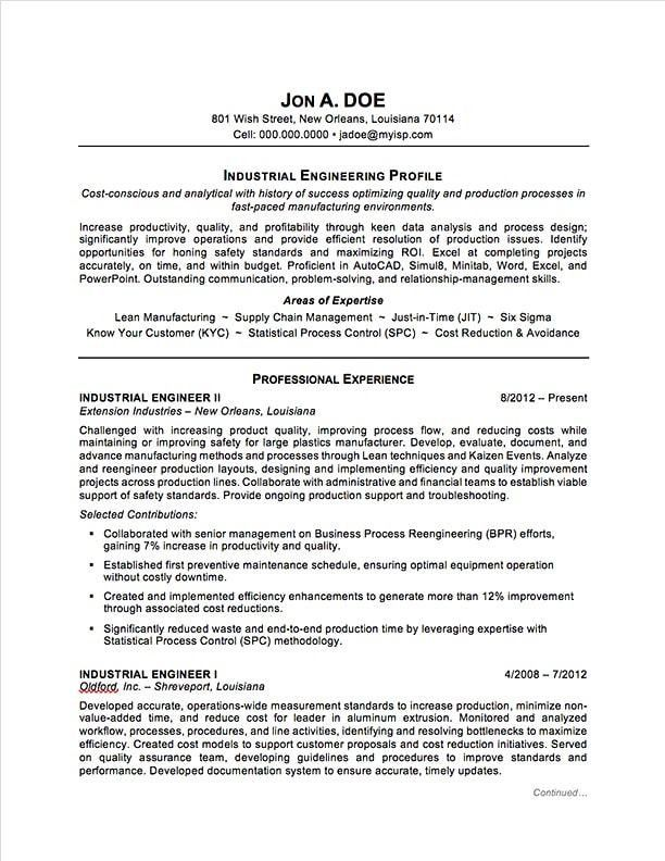 Industrial Engineering Resume Sample | Professional Resume ...