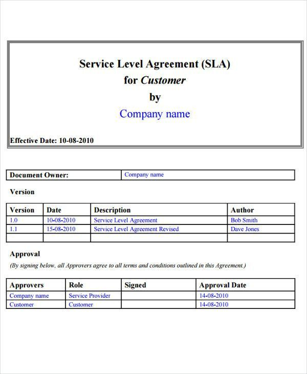 9+ Service Level Agreement Templates - Free Word, PDF Documents ...