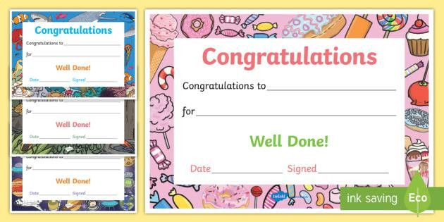 Well Done Congratulations Certificates - well done