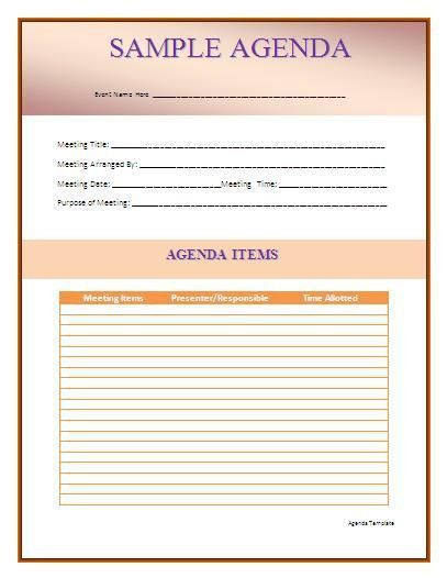 Agenda Template | Formsword: Word Templates & Sample Forms
