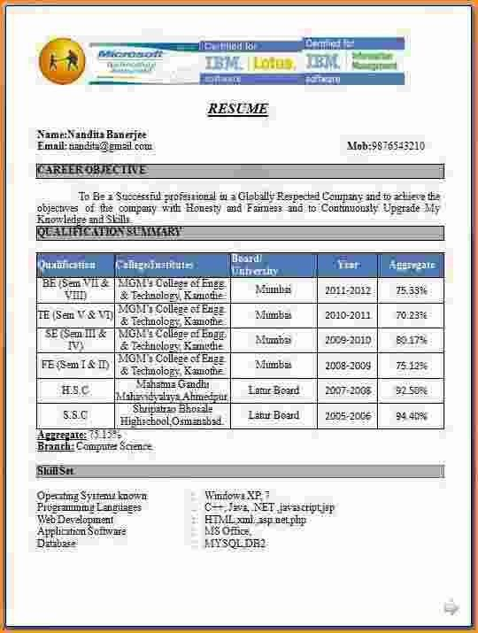 9+ fresher teacher resume format in word | Invoice Template Download