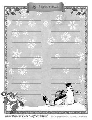 Printable Christmas Wishlist Template for Kids